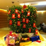 Happy Chinese Year Tree in the lobby welcoming guests