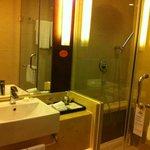 the nice bathroom area of the hotel room