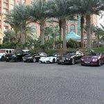 Luxury cars outside foyer