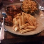 Grilled chicken, peri peri fries and spicy rice
