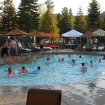 Outdoor pool in the late afternoon