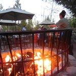 Outside open fire in Siera restaurant