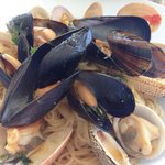 Clam capellini - the shellfish was sweet and the pasta totally soaked up the seafood broth. Must