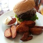 Vege burger with handcut wedges