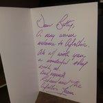 Hand written welcome card