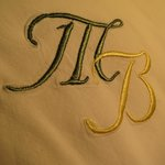 Just about everything (plates, linens) at Fontana Salsa bears the matriarch's monogram