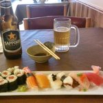 Sushi Platter with Sapporo Beer