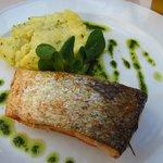 Salmon, mashed potato and parsley sauce