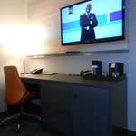 Tv and desk, courtesy tea and coffee