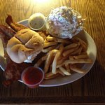 JUMBO hand breaded Fish Sandwich with fries & slaw (platter)