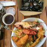 Sharing platter for 2 - lobster, mussels, salmon goujons and battered haddock
