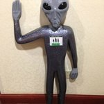 Carlos the alien in the Hampton Inn Roswell Lobby