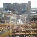 The view from our room - the Strip is beyond the fun fair ride