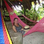 Communal area filled with hammocks...