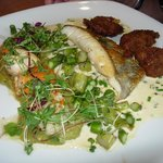 John Dory, scallops, curried fritters