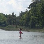 Tree Pose out on a SUP with Randy from SUP Rudee Inlet