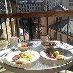 Breakfast on the Balcony overlooking Plaza