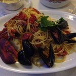 Pasta with lobster and shellfish! Delicious!