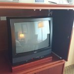 The TV set in the room.  Really makes you travel through time, back to the previous century.