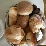 Basket of bakery goods from room service Continental Breakfast