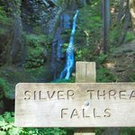 Silver Thread Falls, and its sign in the foreground