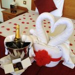 Sparkling wine and Chocolates with a swan!