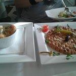 Schrimps mit Käse und lecker Knoblauchbrot