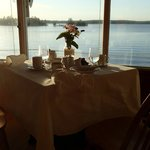 Our table at dinner overlooking Stoney Lake