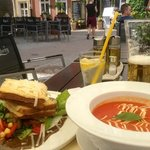croque monsieur and tomato soup