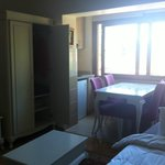 Wardrobe, kitchenette and dining area