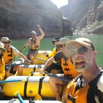 On the raft with Travis, our Outdoors Unlimited river guide