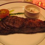 Chops 14 oz strip steak with blue cheese sauce