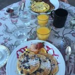 Delicious breakfast- blueberry pancakes and fritatta with maple bacon