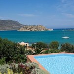 View from hotel lobby to Spinalonga