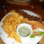 'Garlic' Steak Baguette & Blue Cheese 'Sauce'
