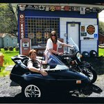 Mother and daugter sidecar tour.