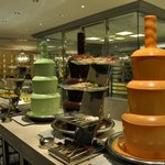 Chocolate fountains in different flavours