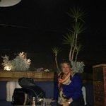 roof top restaurant with full moon