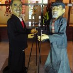 Puppet of the museum owner and President Obama