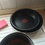 Frying pans missing handles!