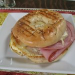 Bagel with egg, ham and tons of brie cheese