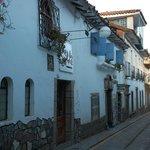 The narrow cobblestone lanes in San Blas.