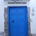 The B&B blue entrance door.