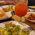 Hot buns, Cesar salad with garlic croutons, Bloody Cesar