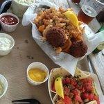 Fried Clams Platter and Mahi Taco