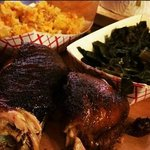 Half Chicken, mac and cheese, and collard greens