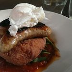 Poached egg with sausage and mashed sweet potato