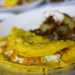Fromage a Trois Omelet – chevre, brie, and cheddar
