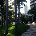 Near the pool area,