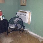 The clunker AC and Utility fan in bedroom